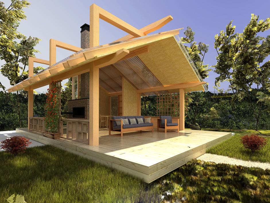 Вариант дизайна открытой летней кухни