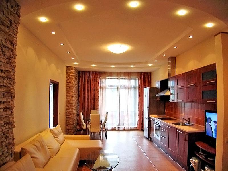 Дизайн потолков из гипсокартона для кухни гостиной